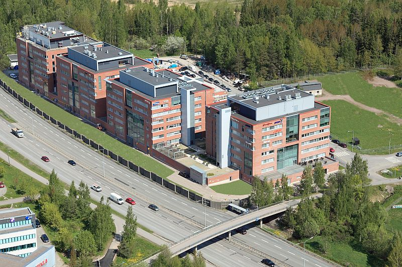 An arial picture of the new Elomatic offices in Otaniemi