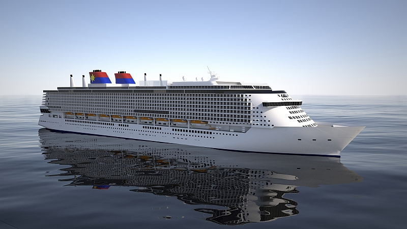 A concept image of the Global Class mega passenger ship